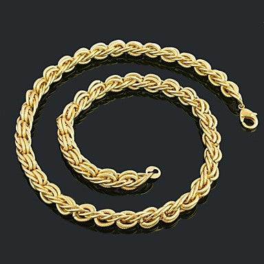 Figaro Chain 60cm Men Golden Gold Plated Chain Necklaces(10mm Width)