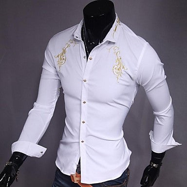 Men's Fashion Gold Embroidery Shirt