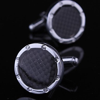 Fashionable Carbon Fiber Round Silver Toned Man Pattern Cufflink for Men (1pair)
