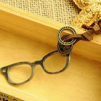 Korea Style Vintage Glasses Leather Pandant Necklace(1pc)