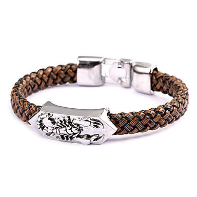 Punk Style Scorpion Brown Leather Bracelet(1 Pc)