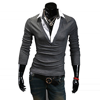 Men's Causal Thin Contrast Color Long Sleeve T-shirt