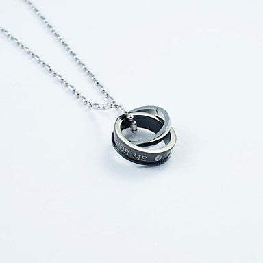 Fashion Men's Double Rings Titainium Steel Pendant Necklace