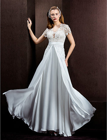A-line/Princess Jewel Floor-length Lace And Satin Chiffon Wedding Dress (1483960)
