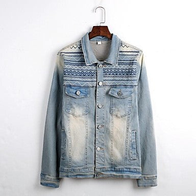 Men's Turn Down Collar Long Sleeve Casual Denim Jackets
