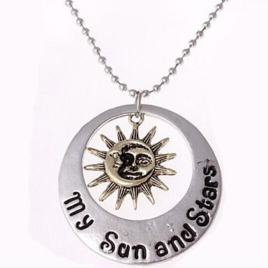 European Star-moon (Round) Silver Alloy Pendant Necklace(Silver) (1 Pc)