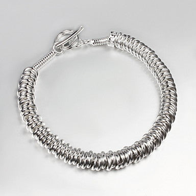 Fashion Like A Spring 21cm Men's Silver Silver Plated Chain & Link Bracelet(1 Pc)