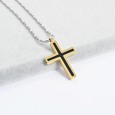 Fashion Titanium Steel Assorted Color Cross Pendant Necklace
