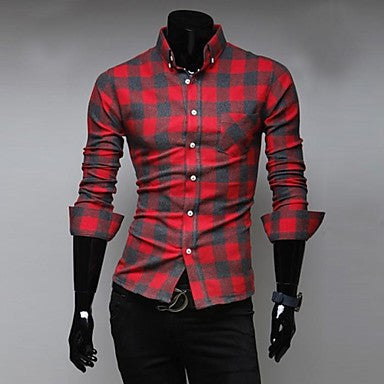 Men's Cultivate One's Morality Leisure Squares Long Sleeve Shirts