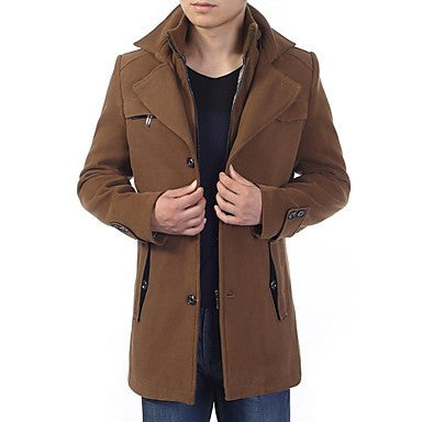 Men's Fashion Stand Collar Long Sleeve Suede Coat