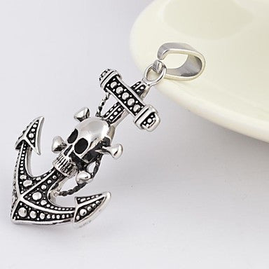 Vintage Antique Silver Anchor Skull Cross Titanium Steel Pendant Necklace
