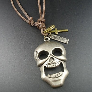 2015 Newest Vintage Alloy Big Skull Skeleton Pendant Genuine Leather Men Necklace