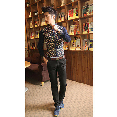 Men's Floral Print Contrast Color Long Sleeve Shirt