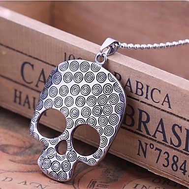 Men¡¯s Fashion Personality Retro Punk Titanium Steel Gothic Skull Pendant Necklaces