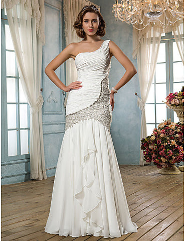 Fit and Flare One Shoulder Floor-length Chiffon And Lace Wedding Dress