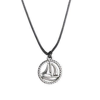 Fashion Stainless Steel Sailing Boat Pendant Necklace