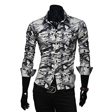 Men's Fashion Slim Camouflage Uniform Long Sleeve Shirt
