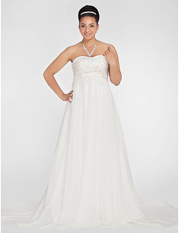 A-line Sweetheart Court Train Chiffon Plus Size Wedding Dress