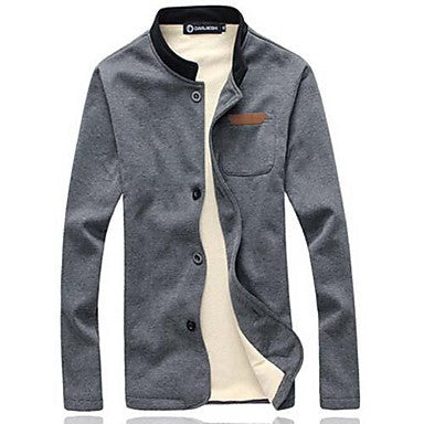 Men's Fashion Leather Mark With Cashmere Sweater Slim Collar Leisure Jacket