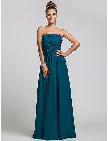 Bridesmaid Dress Floor Length Chiffon Sheath Column Strapless Dress With Ruffles