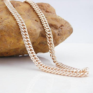18K CC/585 Gold Plated Rose Gold Figaro Copper Necklace 55CM