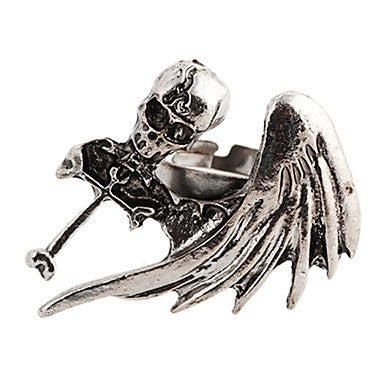 Gothic Skull With Cross And Wing Unisex Silver Alloy Statement Rings(1 Pc)