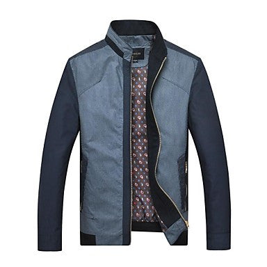 Men's Casual Stand Collar Stripes Jacket