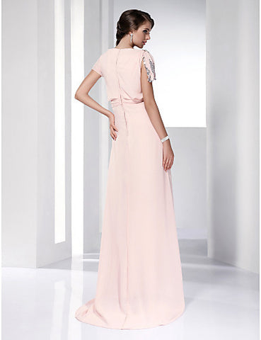 High Low Chiffon Sheath/Column Bateau Evening/Prom Dress inspired by Jayma Mays