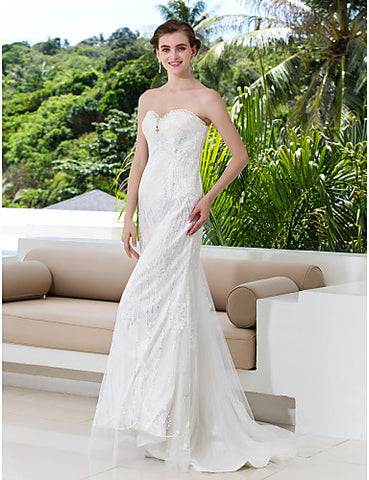 Sheath Column Sweetheart Lace Court Train Wedding Dresses