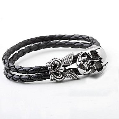 Men's Fashion Simple Personality Titanium Steel Skull Bracelets