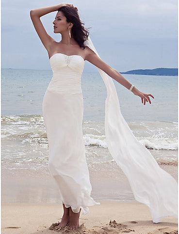 Wedding Dress Sheath Column Ankle Length Chiffon Sweetheart Strapless With Sequins and Appliques
