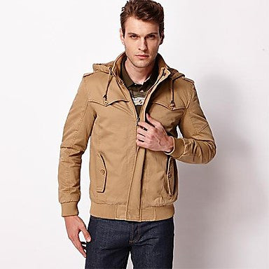 Men¡¯s Stand Collar Pure Cotton Casual Wash Jacket