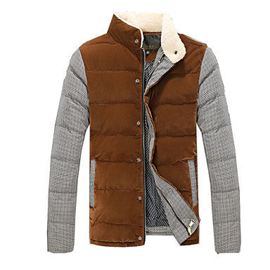 Men's Down Jacket Winter Thick Fashion Silk Cotton-Padded Clothes Outerwear