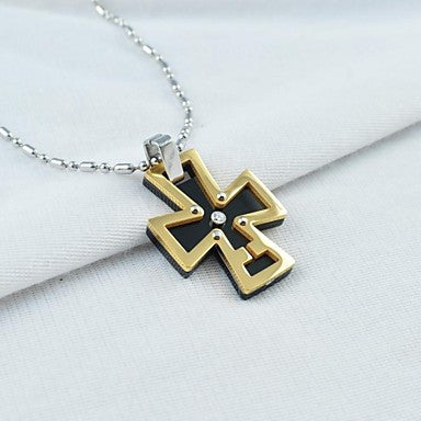 Vintage Men's Titanium Steel Cross Pendant Necklace
