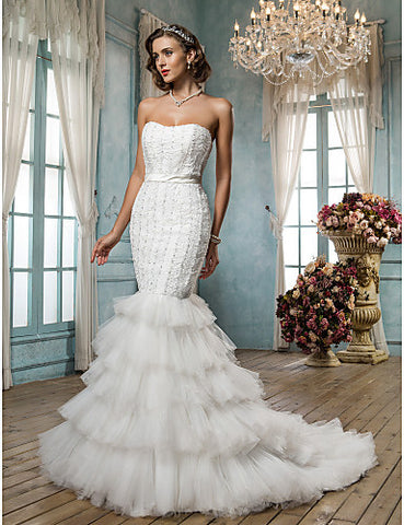 Fit and Flare Strapless Court Train Tulle And Satin Wedding Dress
