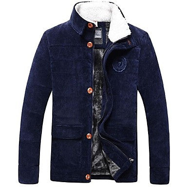 Men's Casual Fashion Stand Collar Long Sleeved Warm Cotton Padded Coat