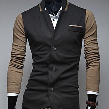 Men's Lapel Collar Color matching Basic Long Sleeve Outwear