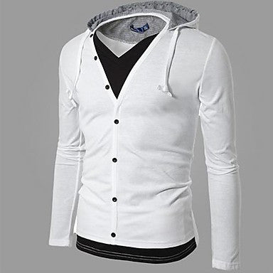 Men's Fashion Single Row Button Open Front Hoodie