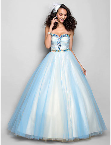 A-line Sweetheart Floor-length Tulle Evening/Prom Dress