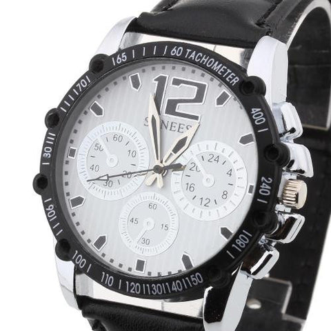Black PU Band Arabic Numeral White Dial Quartz Analog Bracelet Wristwatch Watch