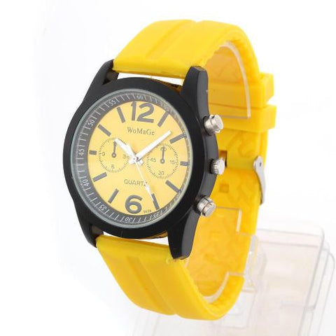 Quartz Movement Wrist Watch Wristwatch Bracelet Yellow Silicone Band Strap