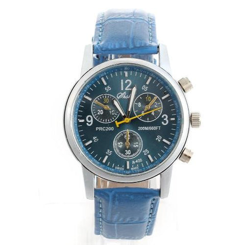 Quartz Movement Wrist Watch Wristwatch Bracelet Blue PU Band Strap