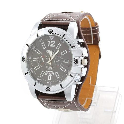 Men Quartz Movement Wristwatch Wrist Watch Brown PU Leather Band Strap