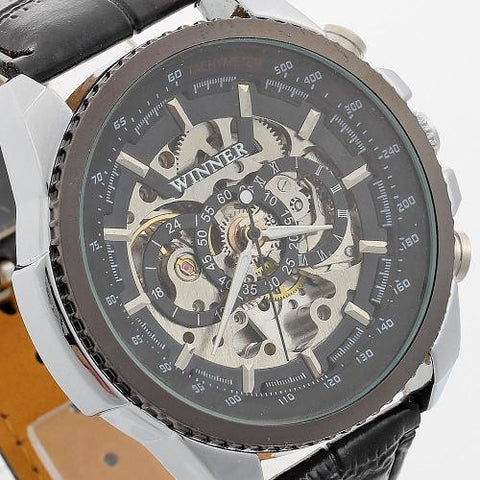 Winner Men Automatic Mechanical Wrist Watch Wristwatch Black Dial Leather Band
