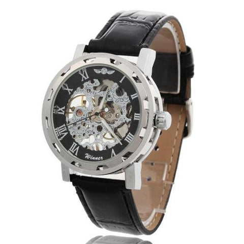 Winner PU Leather Band Roman Numbers Skeleton Hand-Wind Mechanical Wristwatch