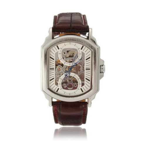 Winner Brown Band Rectangle Dial Automatic Mechanical Bracelet Wristwatch Watch