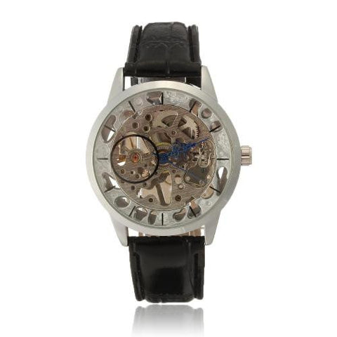 Winner Black PU Leather Band Skeleton Stick Dial Manual Mechanical Wristwatch