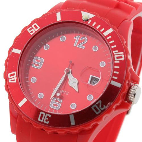 Unisex Wristwatch Wrist Watch Quartz Red Silicone Band Arabic Numerals
