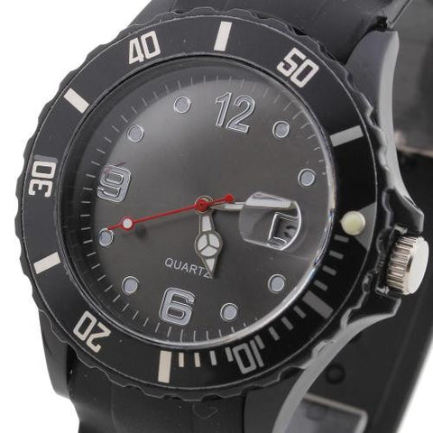 Unisex Wristwatch Wrist Watch Quartz Black Silicone Band Arabic Numerals Hot