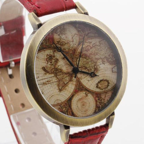 Unisex Wristwatch Wrist Watch Quartz Movement Red PU Band Round Dial Map Face